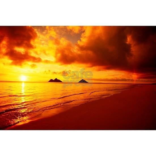Hawaii Oahu Lanikai Beach At Sunrise Orange Sky
