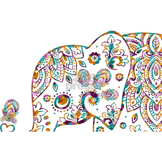Colorful paisley Cute Elephant Illustration