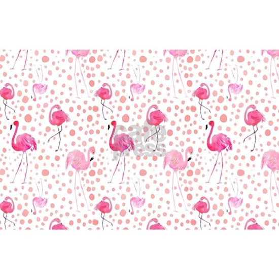 Pink Flamingos and dots pattern