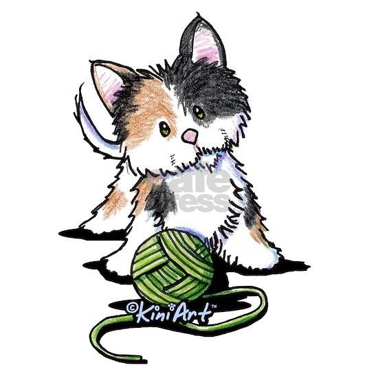 Calico Kitten with Yarn