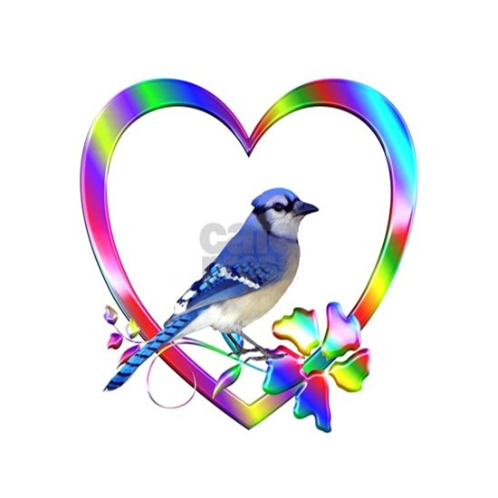 Blue Jay In Colorful Heart
