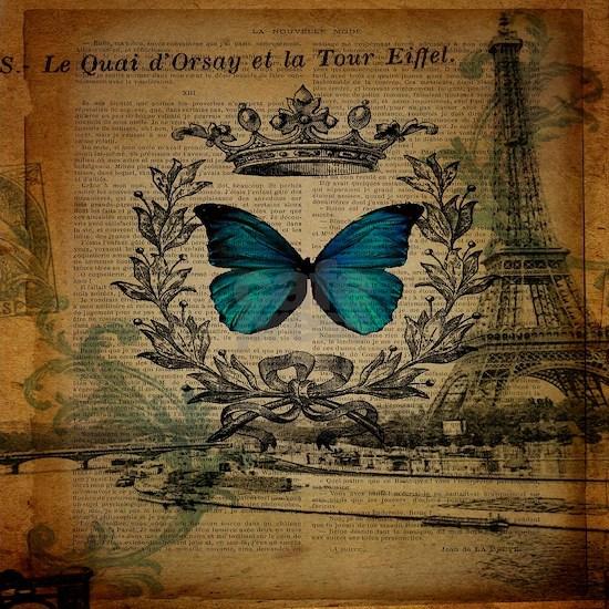 vintage paris eiffel tower butterfly jubilee