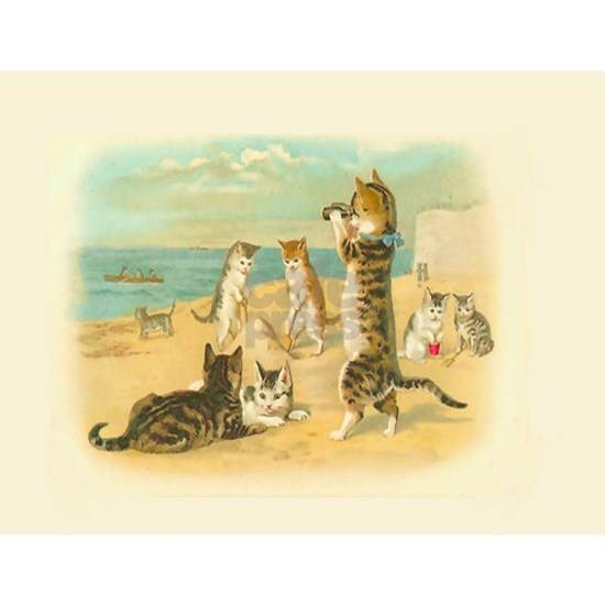 Cute Vintage Cats on the Beach