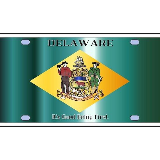 Delaware State License Plate Flag