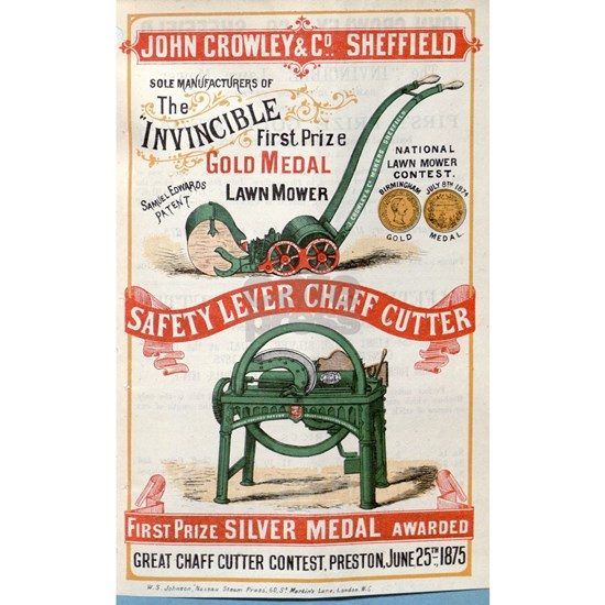 John Crowley Lawn_mower_advertisement 1876
