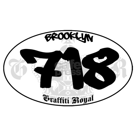 BROOKLYN 718 OVAL STICKER- GRAFFITI