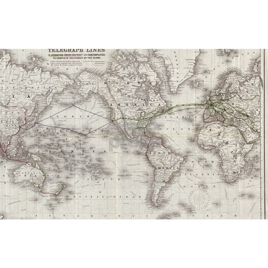 Vintage World Telegraph Lines Map (1855)
