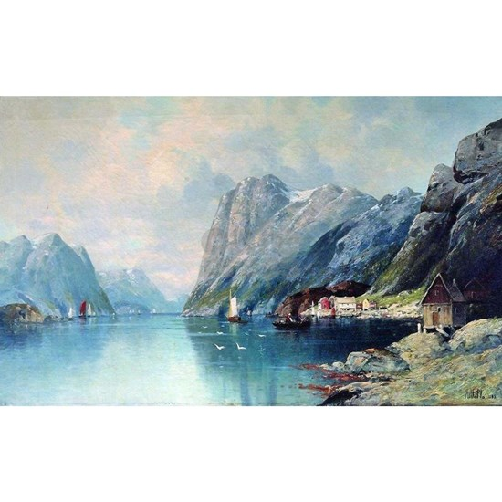 Fjord in Norway, painting by Lev Lagorio