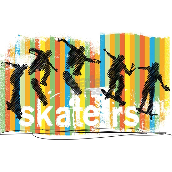 Ink Sketch of Skateboarder Progressive Sequence of