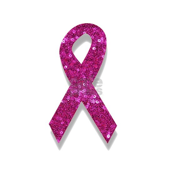 sequin pink breast cancer ribbon