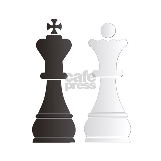 Black king white queen chess pieces