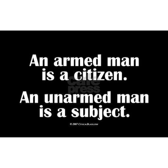 armed.man.oval.sticker