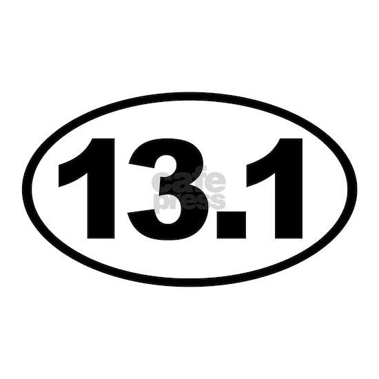 13.1 White Euro Half Marathon Oval Sticker