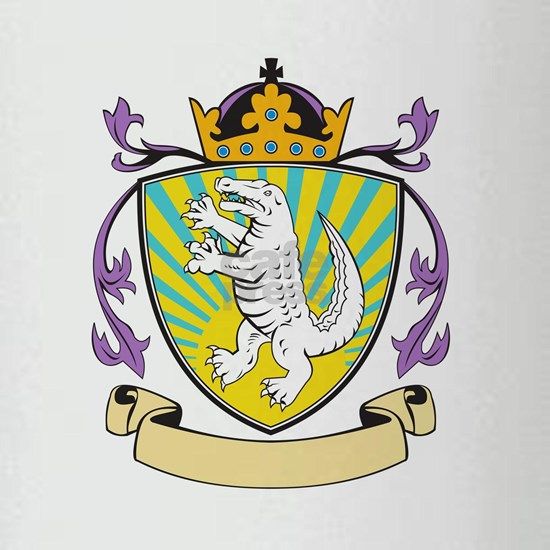 Alligator Standing Coat of Arms Retro