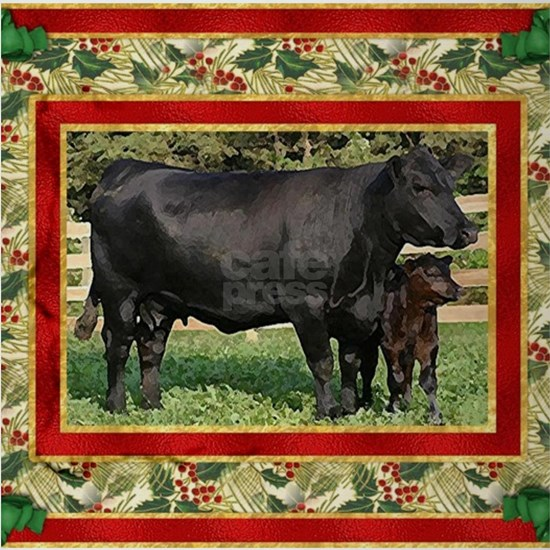 Black Angus Cow Calf Christmas Car Drinking Glass By