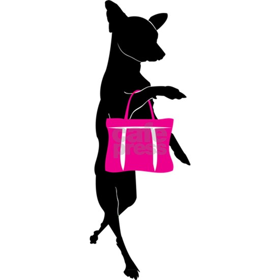 Chihuahua Shopping with Pink Handbag Silhouette