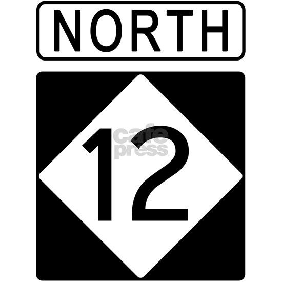 Route 12 North Road Sign