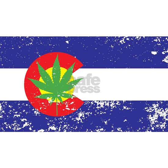 Colorado State Flag Marijuana Pot Weed Leaf