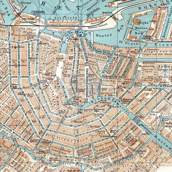 Vintage Map of Amsterdam (1905)