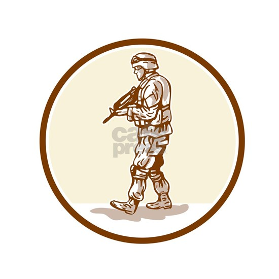 American Soldier Rifle Walking Circle Cartoon