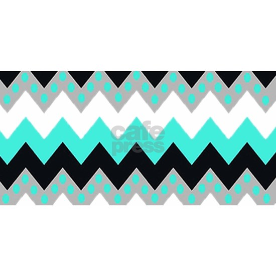 Light Blue Chevron Polka Dots