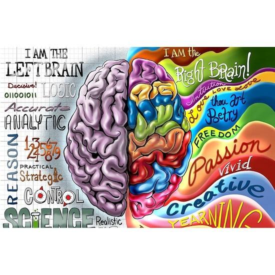 Left Brain Right Brain Cartoon Poster