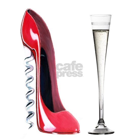 Corkscrew Red Stiletto and Champagne Art