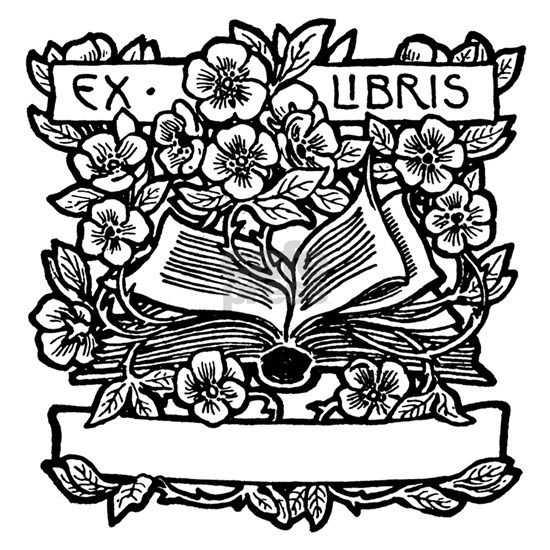 Book and Flowers Ex Libris