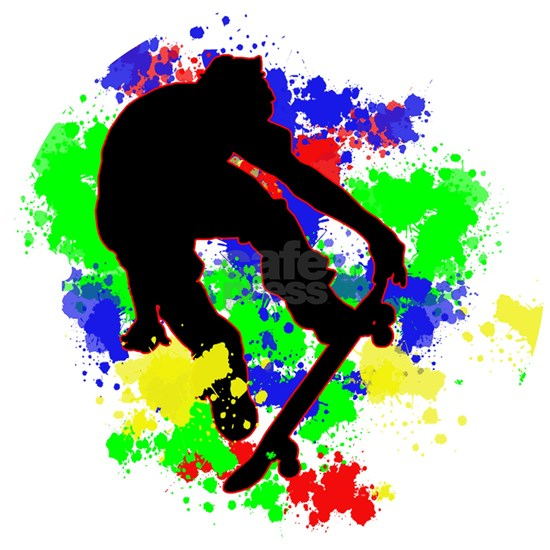Graffiti Paint Splotches Skateboarder