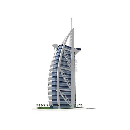 3D model of the Burj Al Arab Hotel in Dubai.