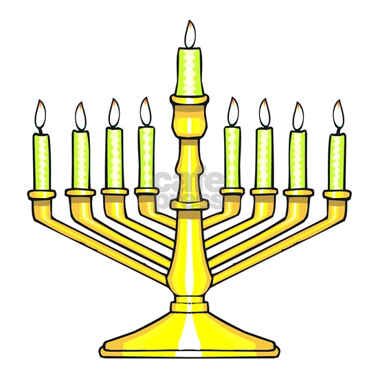 pretty golden menorah with lit candles