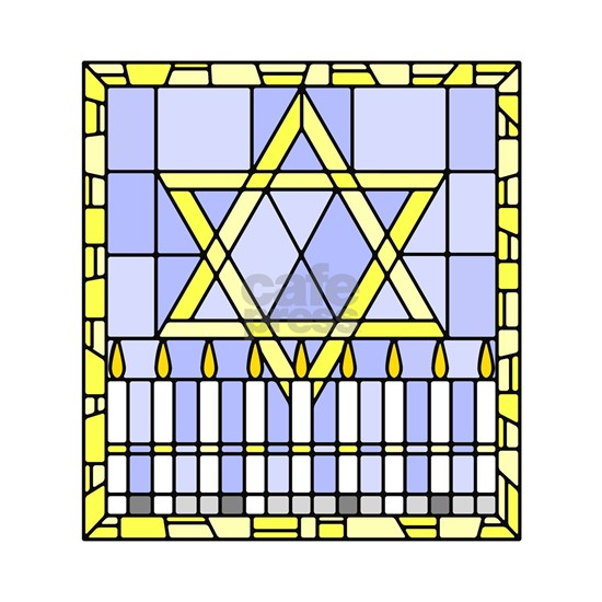 Star of David and Menorah stained glass