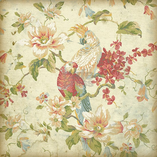 Beautiful vintage floral bird.