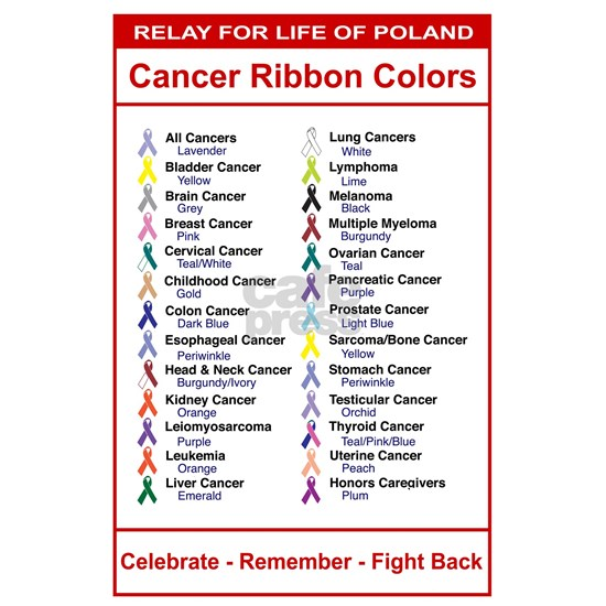 Relay For Life Cancer Ribbon Colors Large Poster By Double J Designs Cafepress