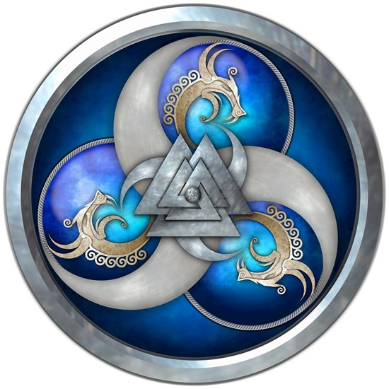 Norse Dragons With Valknut - Blue