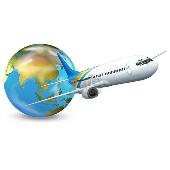 World transport design with globe and plane