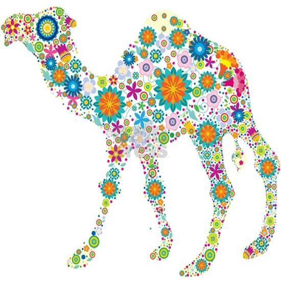 Cool Colorful Retro Floral Camel