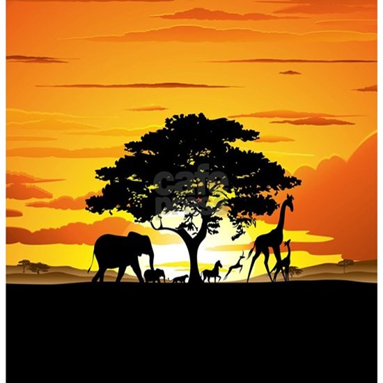 Wild Animals on African Savannah Sunset