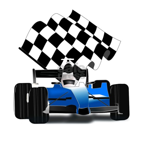 Blue Race Car with Checkered Flag