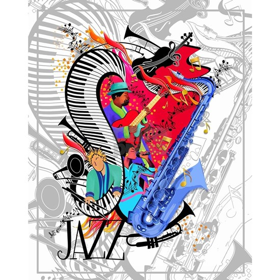 Smooth Jazz Art Piano Saxophone Guitar Art