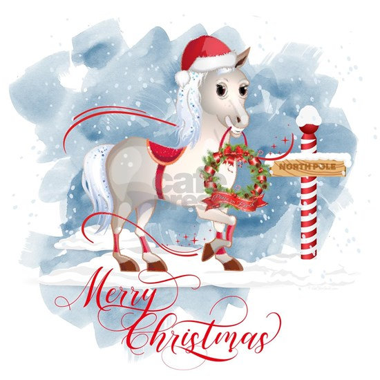Merry Christmas Horse North Pole