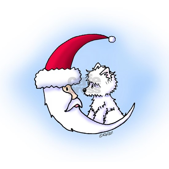 Santa Moon Westie on Blue