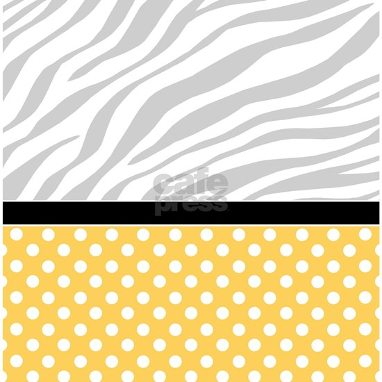 Yellow Polka Dot Faded Zebra Print Shower Curtain By