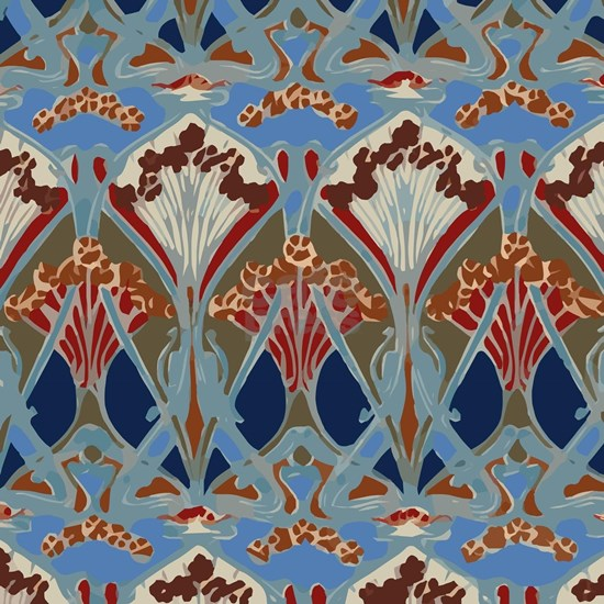 Red Blue Art Deco Floral Pattern