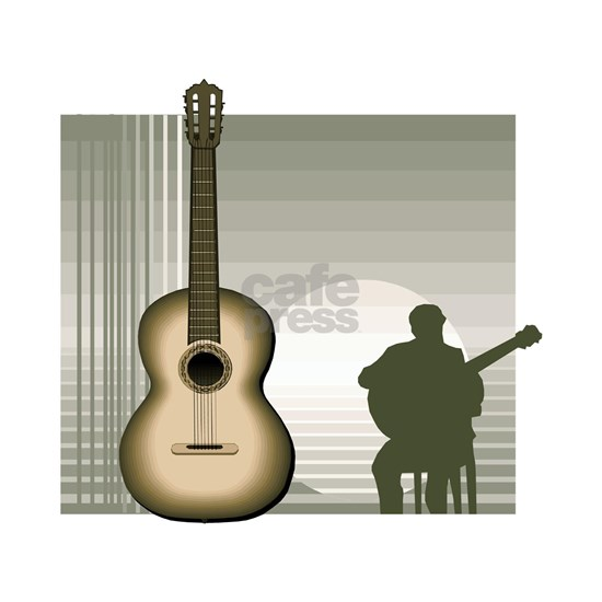 acoustic guitar player sitting brown
