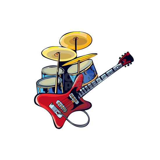 electric guitar drumset red blue