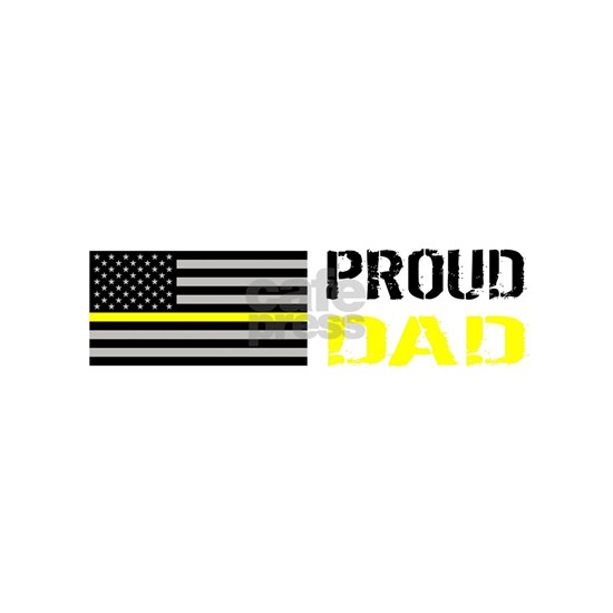 U.S. Flag Yellow Line: Proud Dad (White)