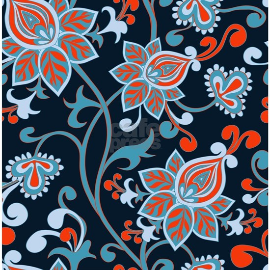 Red Blue Vintage Floral Wallpaper
