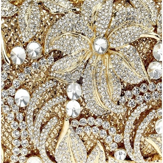 floral champagne gold rhinestone