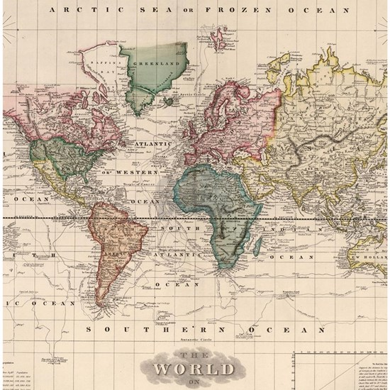 Vintage Map of The World (1833)